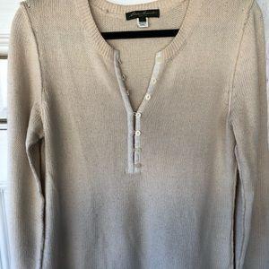 Eddie Bauer Angora Blend Cream Henley Sweater